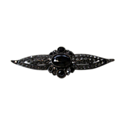 Ben Amun Vintage Marcasite and Black Stone Pin