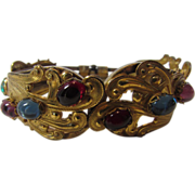Vintage Haskell Babylon Bangle With Jewel Toned Cabochons in Russian Gold