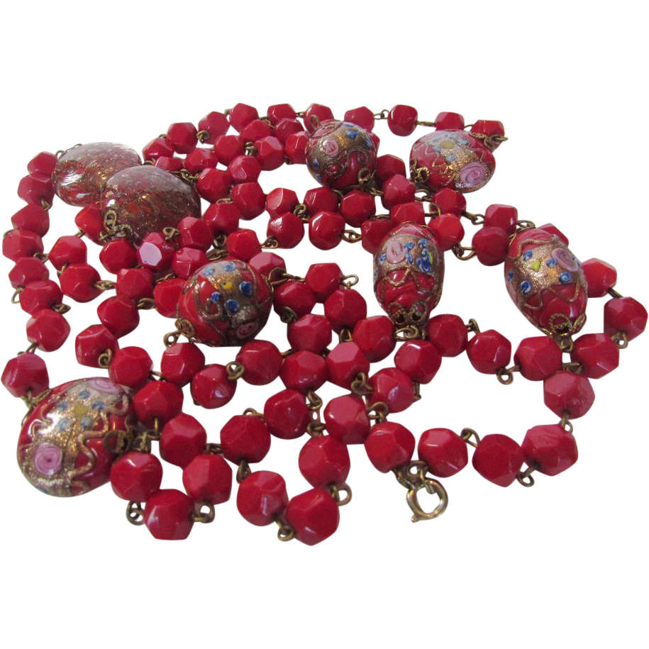 "Vintage 58"" Long Venetian Red Glass Beads Enhanced With"