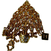 Kirk's Folly Christmas Tree Pin with Clear Crystal Accents and Presents Attached