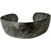 Kirk Steiff Pewter Cuff decorated with Aster