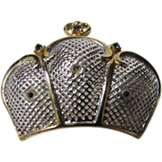 Vintage Crown Pin in Mixed Silvertone and Goldtone Enhanced with Jewel Tone Stones