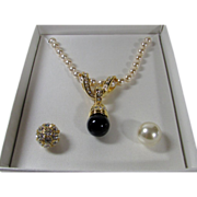 Vintage Nolan Miller Faux Pearls with Interchangeable Enhancers
