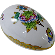 Herend Porcelain Large Egg Bonbon in The Victorian Pattern
