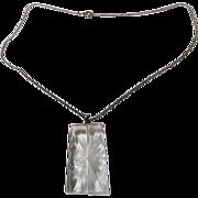 "Vintage Carved Crystal Pendant On 20"" Sterling Chain"