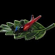 Vintage Enameled Bird on a Green Leaf Original by Robert