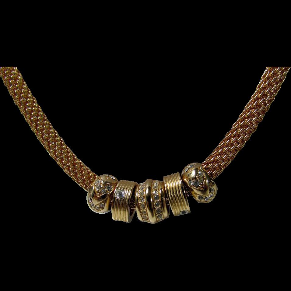 Bijoux Vintage Dior : Christian dior sliding charm necklace on goldtone mesh