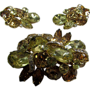Eisenberg Fabulous Set With Pin and Earrings Enhanced with Peach and Light Yellow Crystals