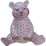 Herend Porcelain Hand Painted Bear Seated in Pink and Rose Tones