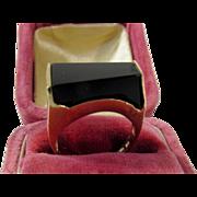 14 Karat Yellow Gold Onyx Modernist Ring