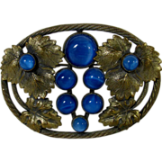 Victorian Brass Pin and Vivid Blue Cabochon Glass Enhancements