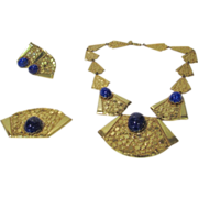 Vintage Miriam Haskell Egyptian Revival Set With Hammered Texture and Faux Lapis Beads