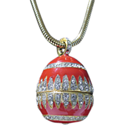 Vintage Eisenberg Enameled Egg Pendant on Goldtone Chain and Bedazzled in White Rhinestones