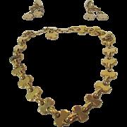 Vintage Volupte Set of Necklace and Clip Earrings in Goldtones