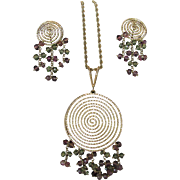 14 Karat Gold Modernist Set With Matching Pendant And Earrings Dripping with Green and Pink Tourmalines
