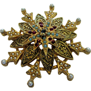Vintage Art Goldtone Pin with Faux Pearls, Faux Turquoise and Faux Ruby Crystals