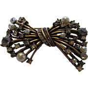 Vintage Coro Modernist Bow Pin With Mixed Crystals and Faux Peals