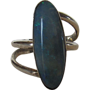 Sterling Silver Opal Modernist Ring