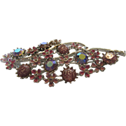 Vintage Silvertone Pin With Pink Enameling and a Variety of Pink Stones