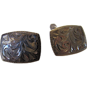 Sterling Silver Etched Cuff Links