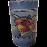 Moorcroft Mini Vase In Hyacinth on Blue Background