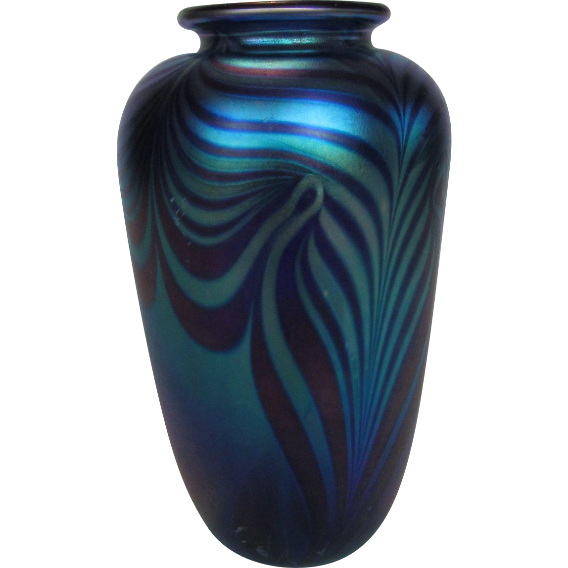 Eickholt glass vase in beautiful pulled feather multi