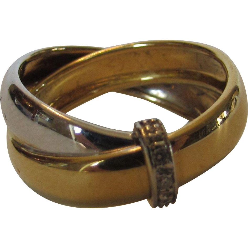 18 Karat Two Tone Gold Ring With Diamond Band Accent From