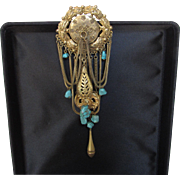 Victorian Brass Pin With Genuine Turquoise Drops