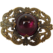 Joseff of Hollywood Russian Gold Filagree  Pin With Huge Faux Ruby Crystal