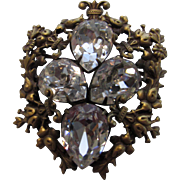 Joseff Vintage Coat of Arms Pin or Pendant with 4 large Clear Swarovski Crystals