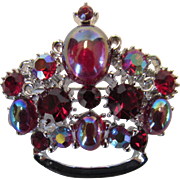 Vintage Lisner 1960's Crown Pin Decorated With Aurora Borealis Cabochons and Crystals