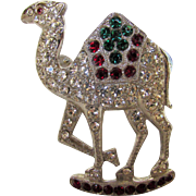 Vintage Camel Pin With Clear, Red and Green Crystals in Silvertone
