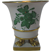 Herend Footed Toothpick Holder in Chinese Bouquet Green Pattern