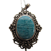 Sterling Silver Larimar Pendant on Sterling Silver Chain