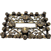 Joseff Pin Decorated with Antiqued Filagree and Clear Crystal Accents