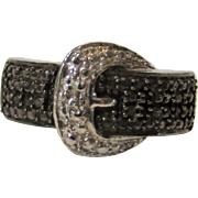 Sterling Silver Buckle Ring With Black Sapphire Melee