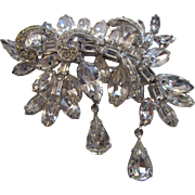 Vintage Weiss Mid Century Modern Pin With Clear Swarovski Crystals