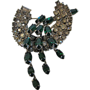 Vintage 1940's Pin With Faux Emerald and Clear Crystals in a Silvertone Backing
