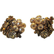 Miriam Haskell Faux Pearl and Crystal Clip Earrings