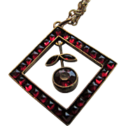 Vintage Brass and Glass Necklace with Faux Garnet Pendant