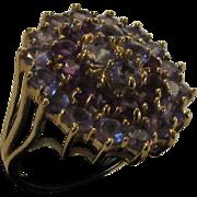 10 Karat Yellow Gold Blue Topaz and Amethyst Elegant Cocktail Ring