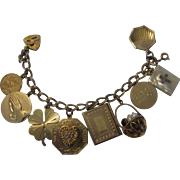 Vintage Gold Filled Charm Bracelet With 10 Charms