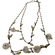 Vintage 1930's Brass Necklace With Delicate Frosted Crystal Flowers and Drops