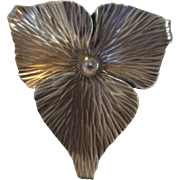 Sterling Silver Modernist Flower Pin by Stuart Nye