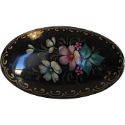 Vintage Hand Painted Victorian Floral Themed Pin With C-Clamp Closure