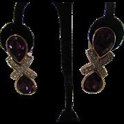 Vintage Designer Earrings with Large Swarovski Faux Amethyst Crystal
