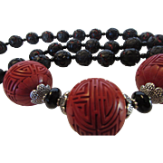 Vintage Black and Red Beads Combined with Three Faux Carnelian Colored Carved Spherers Necklace
