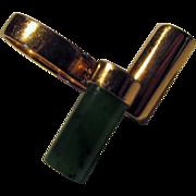 14 Karat Yellow Gold Ring Modernist Style With Jadite