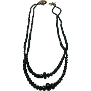 Artisan Emerald Beads Necklace on a 14 Karat Yellow Gold Clap