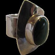 Sterling Silver Designer Modernist Malachite Ring Mexico
